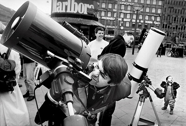 Telescopes on public display.
